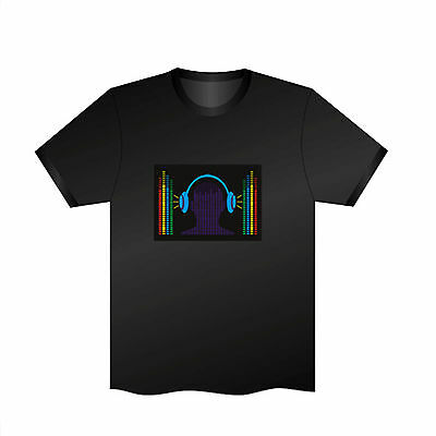 Sound Activated EL LED T-Shirt Tee Tshirt Headset Music Flashing Dancer Party DJ