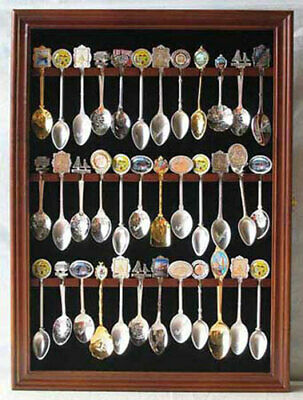 Wall Shadow Box Display Case to hold 36 Souvenir Spoons, Glass Door, SP01