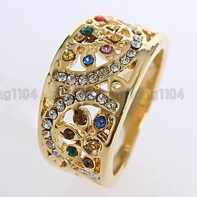 18K GP Multi-colored Crystal Free Shipping Ring A27