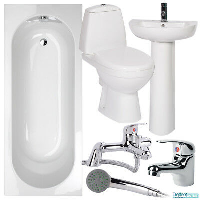 Bathroom Suite Single Ended 1700 Bath Toilet WC Basin Wash Sink Tap Shower Mixer