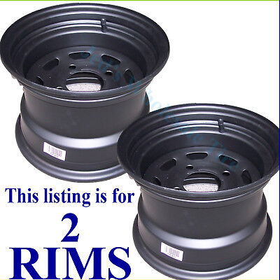 2) 10x7 4/4 Golf Cart Go Kart Riding mower Garden Tractor RIM WHEELS Black Steel