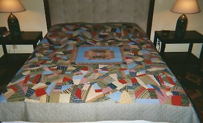 "CENTER MEDALLION Cotton CRAZY QUILT: 80""x86"" 1880-90 PA"
