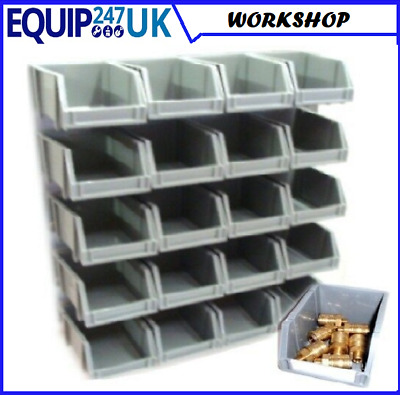 20 Storage Bins Kit. With Wall Mount  Stacking Garage Home Workshop