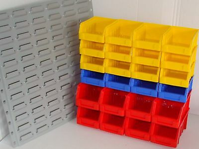 24 Storage / Stacking Bins With Steel Wall Mount *new*