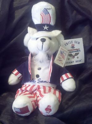 Uncle Sam Stamp Bear 2003 USPS Timeless Toys Plush NWT Patriotic Red White Blue