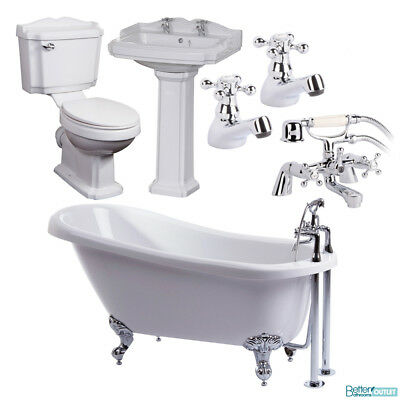 Traditional Bathroom Suite - 1570 Bath Tub Close Coupled Toilet Basin Sink Taps