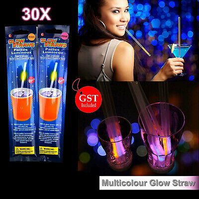 30X Multi Color Glow Straw Straws Light Up Party Glow in the Dark Wedding bulk d