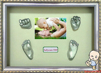 Baby DIY 3D Casting Kit & Shadowbox photo frame Baby Keepsake 100% Safe Silver