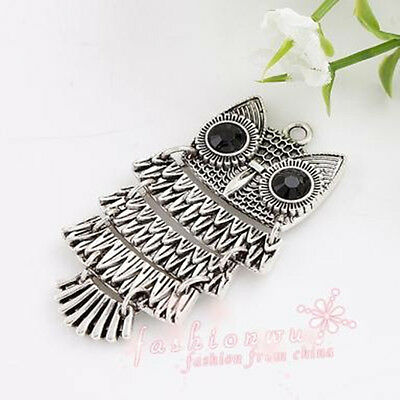 20pc Fresh Ancient Silver Plated Owl Charms 26X47mm 1