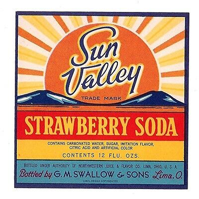 Sun Valley Strawberry Soda Bottle Label Swallow Lima Oh