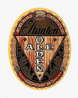Stanton Olden Ale Beer IRTP Bottle Label Troy New York