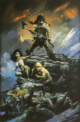 "Authentic Frank Frazetta Print ""FIRE AND ICE"" #132  16 x 24"""