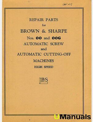 Brown & Sharpe 00 and 00G Screw Machines Parts Manual