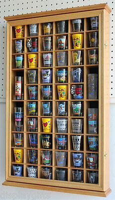 56 Shot Glass Display Case Holder Wall Cabinet, glass door, Oak Finish SC56-OA