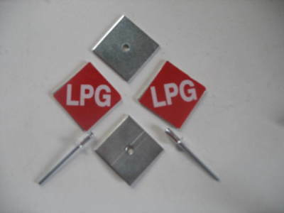 LPG gas stickers and backing plate for car number registration reg rego plate x2