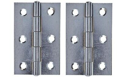 "1 x  Pair of 3"" (75mm) Butt Hinges For Doors - Chrome Plated - Fixed Pin"