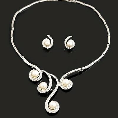 Silver Tone Ivory Pearls Bridal Necklace Jewellery Set use Swarovski Crystals