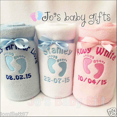 Personalised Baby Blanket Embroidered Footprints/Babys details-Boys & Girls Gift