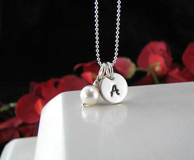 Little Girls Childs Sterling Silver Hand Stamped Initial Necklace Pendant New