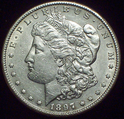 1897 S SILVER MORGAN DOLLAR Semi-Key Date AU+ Detailing Authentic US Coin $1