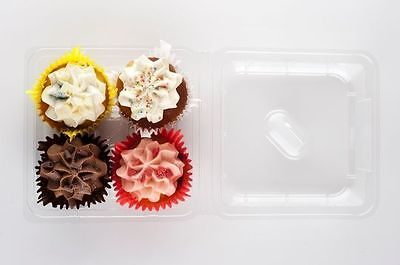 Clear Cupcake/Muffin Container 4 Cavity Hinged x 50
