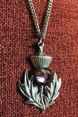 Scottish Scotch Thistle Iona Swarovski Amethyst Crystal Pewter Pendant Necklace