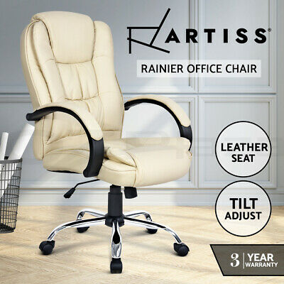 Artiss Executive Premium Leather Office Chair Home Computer Beige Seating Chairs