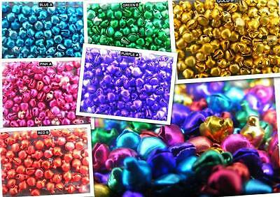 100 6mm Jingle Bells.Christmas.Costumes.Shiny.Red.Gold.Pink.Blue.Purple.Silver