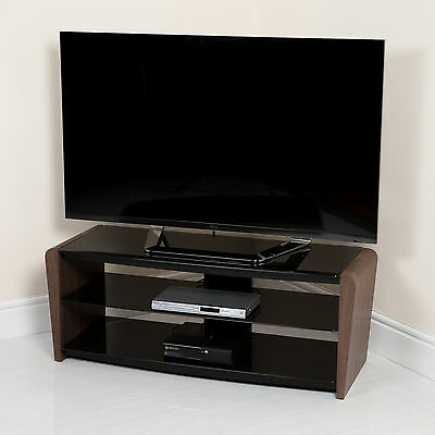 "New TV Stand Black Glass Shelving With Wood Veneer Legs From 32"" upto 55"" TV"