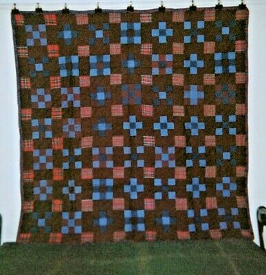 "Warm Flannel Back ""NINE PATCH"" Quilt, Ontario, Canadian AMISH; c.1920, 70"" x 70"""