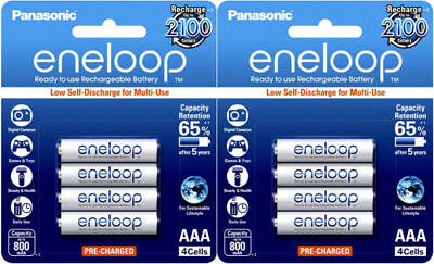 Eneloop AAA NiMH Rechargeable Batteries x 8 -4th Generation