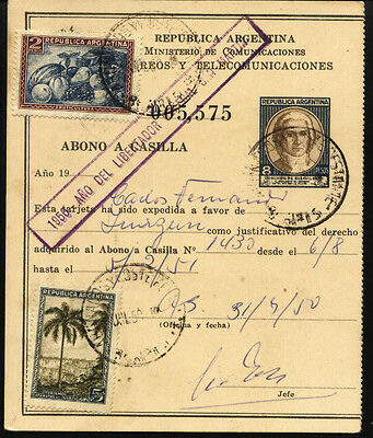 Argentina abono a casilla 1950 stationery $ 8 with add stamps