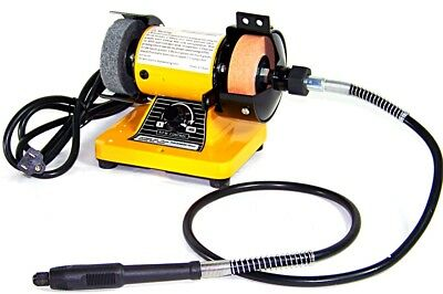"3"" Mini Bench Grinder With Rotary Flexible Shaft Die Carving polisher buffer NEW"