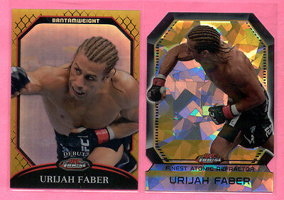 Lot 2011 Topps Finest UFC Atomic Refractor & Gold Refractor Urijah Faber /88