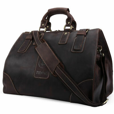 Men's Vintage Genuine Soft Leather Large Luggage Duffle Travel Gym Bag Carry On