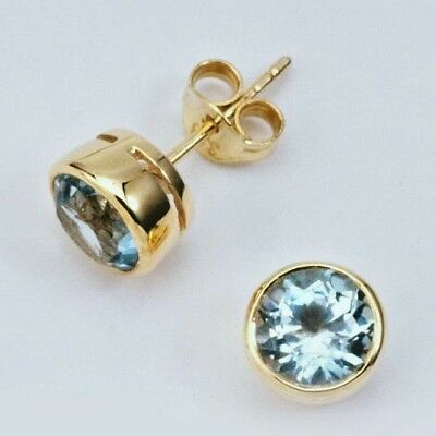 New 9K Yellow Solid Gold Earrings,genuine Natural Sky Blue Topaz ,