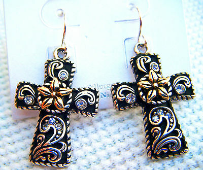 Cross Dangling Earrings Black & Silver/Gold Tone Filagree & Flower-1 1/4 inches