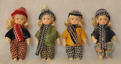 Thai Porcelain Dolls in Winter Clothes / Christmas Ornaments - Set of Four (New)