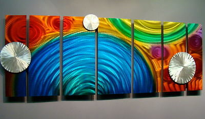 """Contemporary Abstract Metal Wall Art Decor Red/Blue Sculpture """"Elation Too"""""""