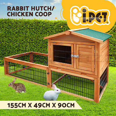 Rabbit Hutch Chicken Coop Guinea Pig Ferret Cage Hen House 2 Storey Run R1420