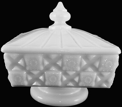 Vintage Westmoreland Milk Glass Old Quilt Pattern Covered Honey Bowl