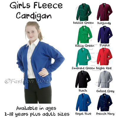 Girls School Cardigan Fleece Sweatshirt Uniform Age 2-18+Adult Size - 11 Colours
