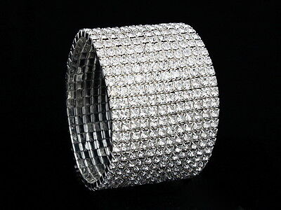 12 Rows Rhinestone Crystal Stretch Bridal Wedding Bangle Bracelet TB20