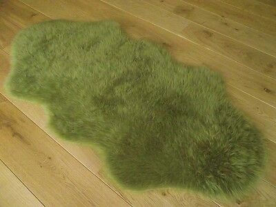 New Olive Green Fluffy Bedroom Faux Fur Fake Sheepskin Rugs Washable Hairy Mats