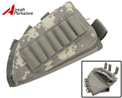 Airsoft Tactical Military Rifle Stock Ammo Pouch Holder w/ Cheek Leather Pad ACU