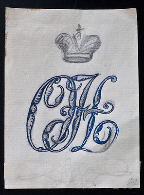 Russian Grand Duchess Olga Bookplate Exlibris Sketch by Dobuzhinsky c.1910