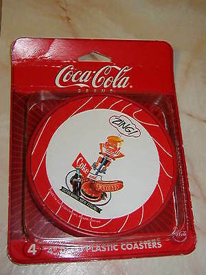 Set Of Four Coca Cola Plastic Coasters With Vintage Zing Ad -New