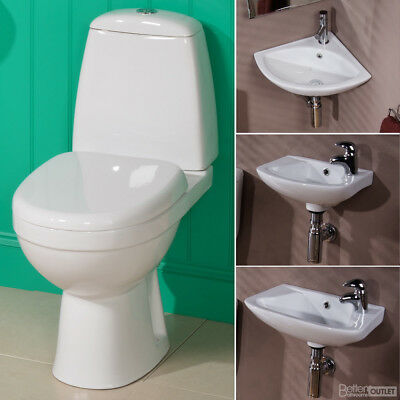 WC Suite Cloakroom Bathroom Toilet and Basin Sink Set ; Modern White Ceramic