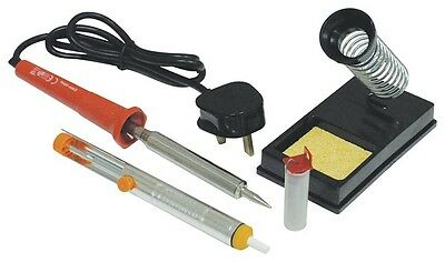 30w Soldering Iron Kit with Stand Cleaning Sponge Desoldering Pump & Solder