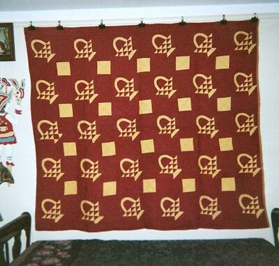 """BASKETS"" Quilt: 66"" x 76"", c.1920's, from the Ontario,Canada AMISH Community."